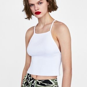 ZARA Knit Ribbed Strappy Crop Top White